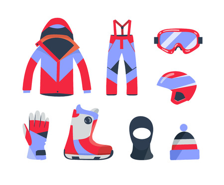 objects equipment: Winter sports objects, equipment collection, icons, flat style. illustration