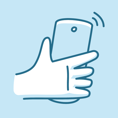 Modern smartphone in hand, receiving phone call. Line style icon.