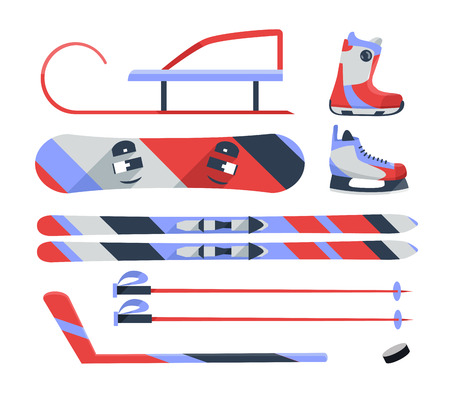 objects equipment: Winter sports objects, equipment collection, vector icons, flat style. Vector illustration