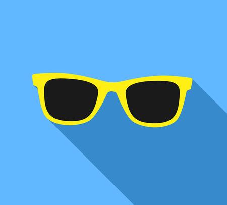 wayfarer: Yellow Sunglasses icon with long shadow. Flat design style