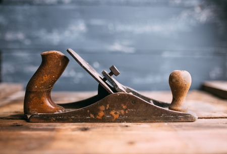 scobs: Jack-plane on old wooden table, small dof Stock Photo
