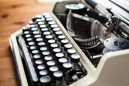 Retro old typewriter with paper sheet