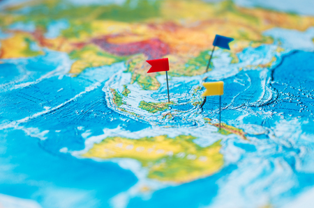Travel concept with flag pushpins and world map stock photo picture travel concept with flag pushpins and world map photo gumiabroncs Images