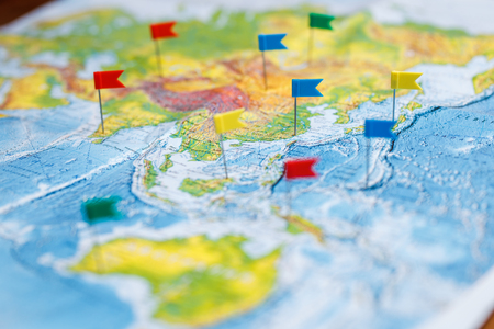 Travel concept with flag pushpins and world map stock photo picture travel concept with flag pushpins and world map stock photo picture and royalty free image image 77488485 gumiabroncs Images