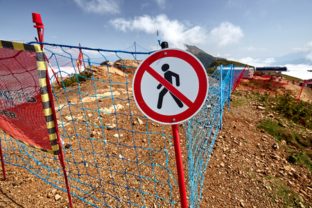 park: No walking sign in North Caucasus mointains.