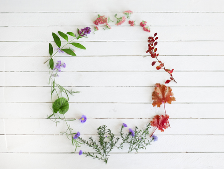 Retro floral frame on white wood background