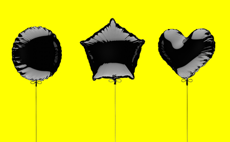 Three black metallized foil balloons on a yellow background. 3d render illustration Stock Photo