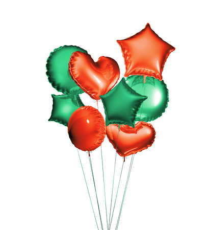Eight green and red balloons in the shapes of a ball, hearts and stars isolated on white background. 3D rendering