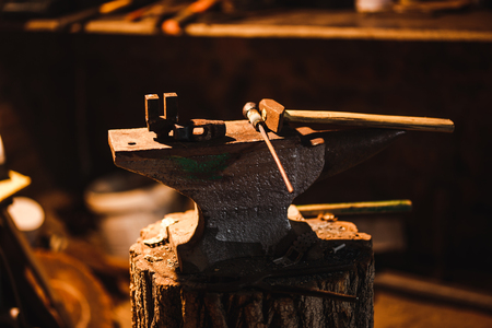 Hand anvil. Tools in old blacksmith shop