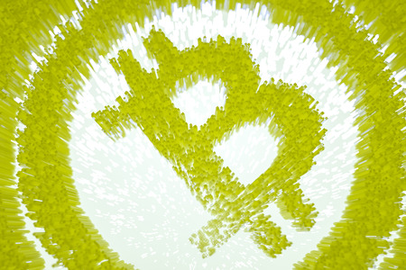 3d illustration pixelated bitcoin symbol made from cubes in glowing backlight.