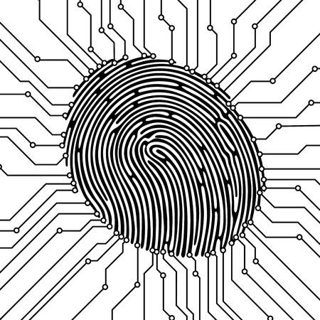 Fingerprint scan illustration. Security concept. Biometric identification. Vector illustration. Vettoriali