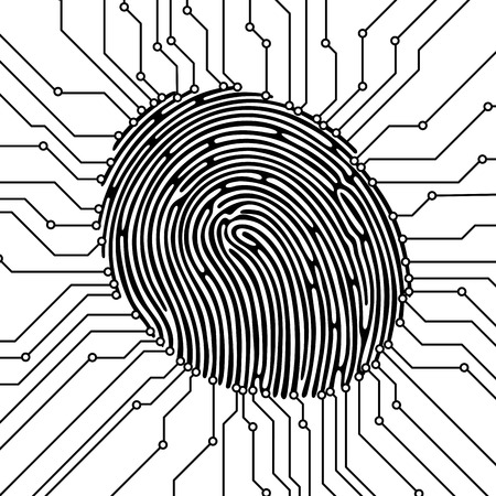 Fingerprint scan illustration. Security concept. Biometric identification. Vector illustration. Vectores