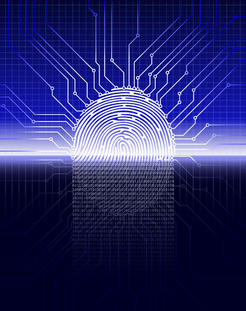 Fingerprint scanning, digital biometric security system, data protection, dark blue background, vector illustration