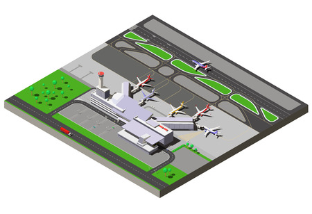 Vector isometric international airport terminal with traffic control tower and passenger jets