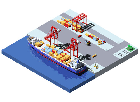 Vector isometric cargo port with two cranes unloading containers from container ship Illustration