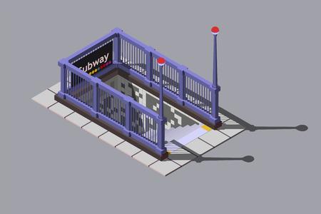 Entrance to underground metro station, vector isometric illustration