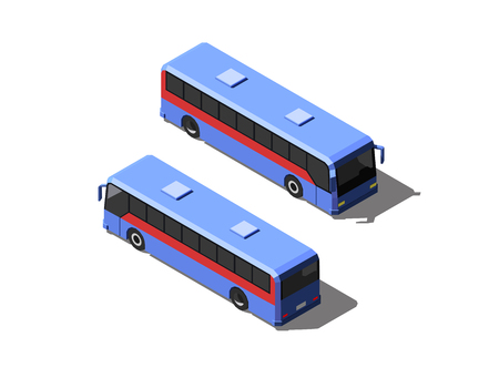 Blue passenger bus. Two different views vector isometric illustration.