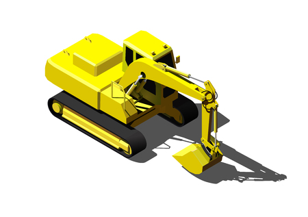 Heavy excavator isolated on white. Modern isometric construction vehicle illustration.