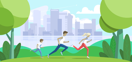 Sport family. Father, mother and son jogging in the park. Big city on background. Vector illustration Иллюстрация