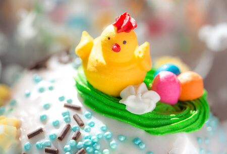 Beautifully decorated traditional Easter cakes on the eve of the celebration of Easter. Closeup photo