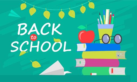Back to school banner, flat design, background template illustration with lettering quote.