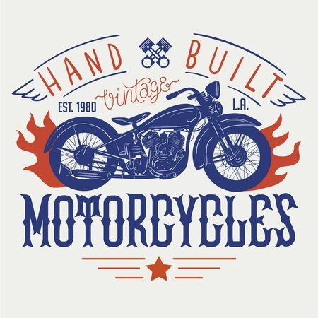 Hand built vintage motorcycles. T-shirt or poster design with an illustration of an old motorcycle
