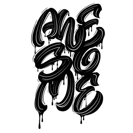 Awesome. Vector hand lettering design. Ilustrace