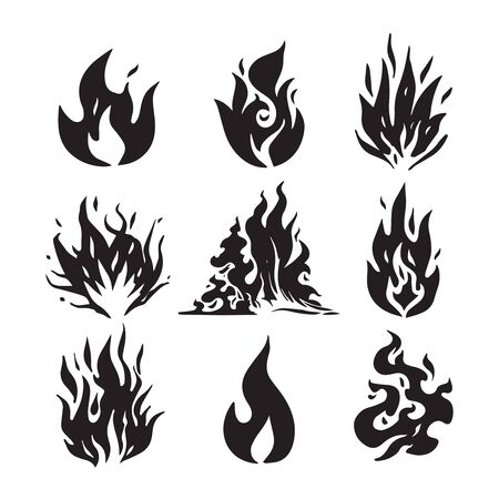Fire flames, set icons, vector illustration. Hand drawn sketch fire flame.