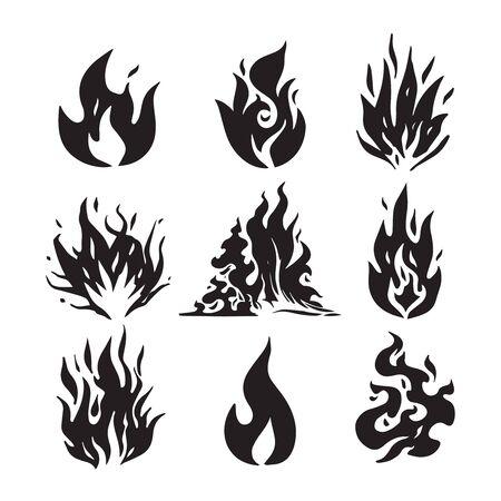 Flammes de feu, set d'icônes, illustration vectorielle. Flamme de feu de croquis dessinés à la main. Vecteurs