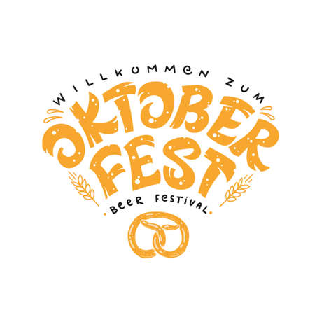 Oktoberfest. Vector illustration for German beer festival.Hand lettering. Design for advertising poster, menu, etc.