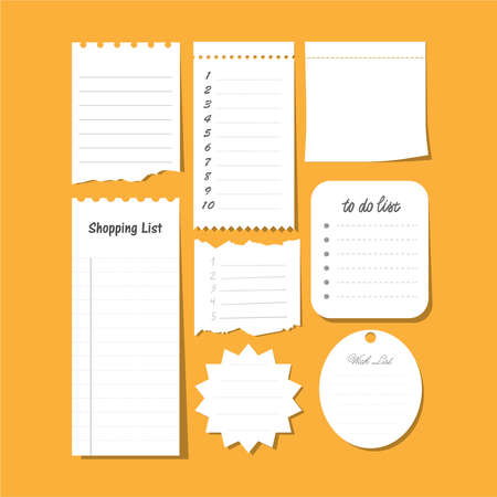 Collection of vector isolated to do list, wish list, blank sticky note paper, etc. Set of paper note with task plan.