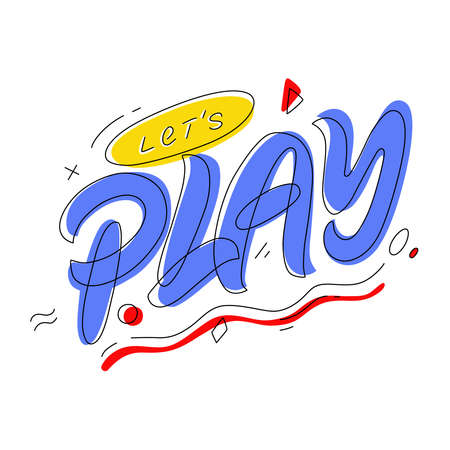 Lets Play. Hand lettering colorful logo. Design for banners, prints and posters, etc.