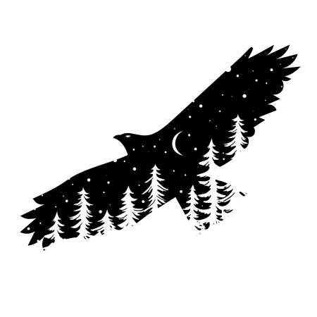 Silhouette of eagle with coniferous trees on the background of night sky with the moon Ilustrace