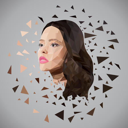 beautiful girl face: illustration beautiful girl face of triangles