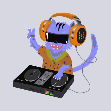 dj headphones: illustration cat dj headphones Illustration