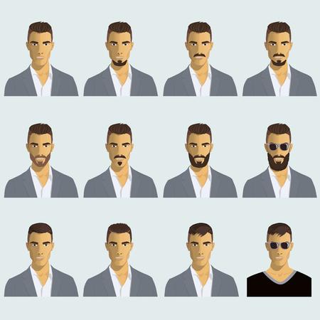 illustration de cheveux et la barbe pour les hommes Vecteurs