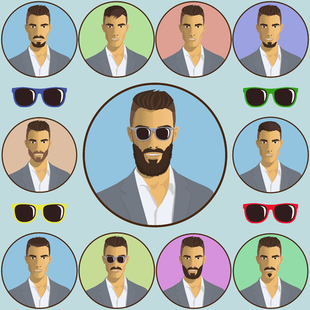 hairstyles: illustration colored icons hairstyles