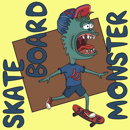 skate board: illustration skate board monster