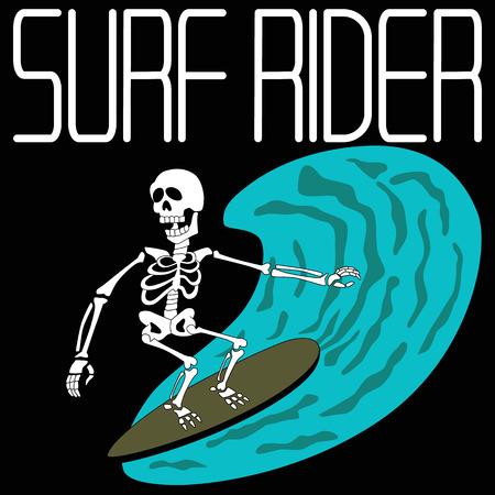 vector illustration skeleton surfing