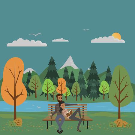 autumn park. couple on the bench.
