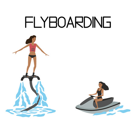 extreme: flyboarding. extreme water sport Illustration