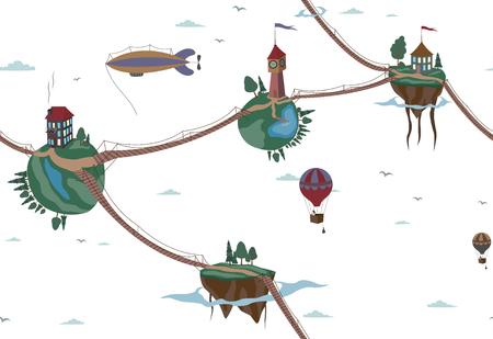 blimp: pattern sky air world. fairy tale. Illustration