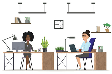girl using laptop: office people set. scenes of people working in the office. white background. Different nationalities. Interior office. vector illustration 4 Illustration