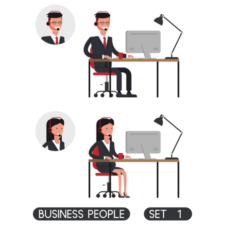 computer repairing: Flat design. Business people set 1. Office workers. Secretary. Telephone operator