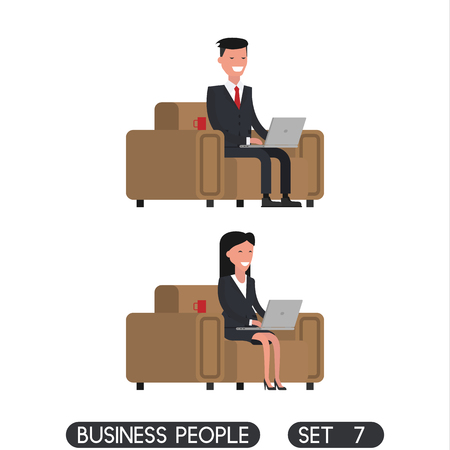 Business people set 7. Business people with a laptop. Vector illustration
