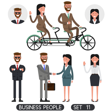 Team work. Business people set 11. Bicycle tandem riding. Office people.Different nationalities and dress styles.  Vector illustration