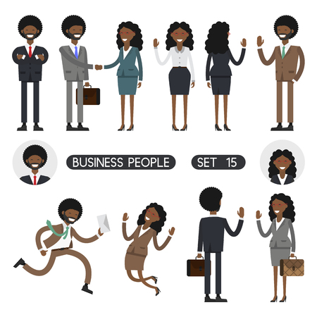 african american handshake: African people on white background. Vector illustration. Different movements. Create a scene. Business people set 15.