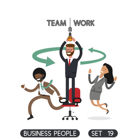 Team work. Business people set 19.  Office people.  Vector illustration.