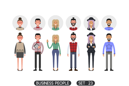 Hipster style. Business people set 23 isolated on white background. Different nationalities and dress styles. Icons