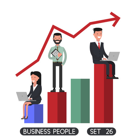 Diagram positive,  working people sit. Business people set 26. Vector illustration